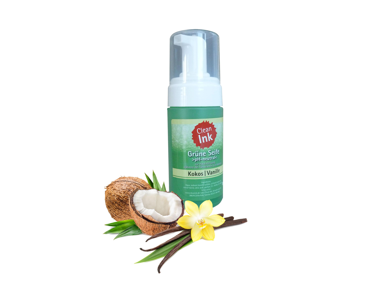 Grüne Seife Schaum Kokos Vanille